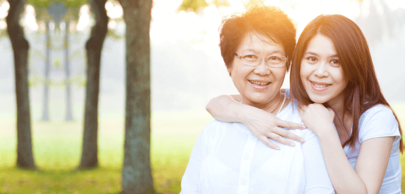Portrait of asian elderly woman and caregiver