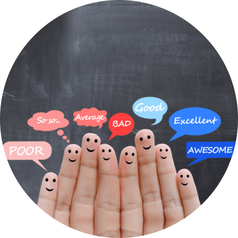 Customer satisfaction scale and testimonials concept with human fingers